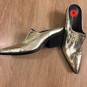 Donald J Pliner Gold Metallic Mules